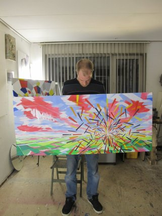 Me holding the finished Oil-painting 'Quantum Phenomenon', 2013