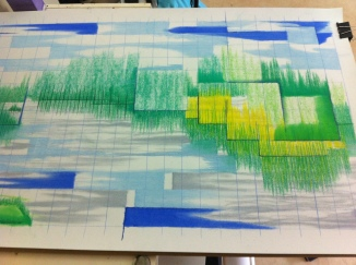 "Process picture of pencil/crayon drawing ""TunnelVisions/FragmentedNature"", 2015"