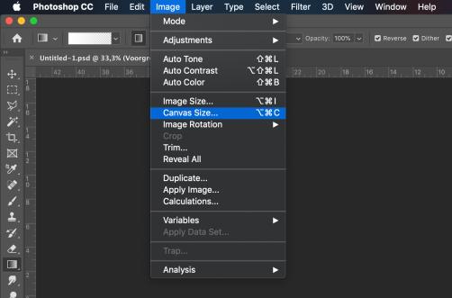 Photoshop Canvas Size option menu location