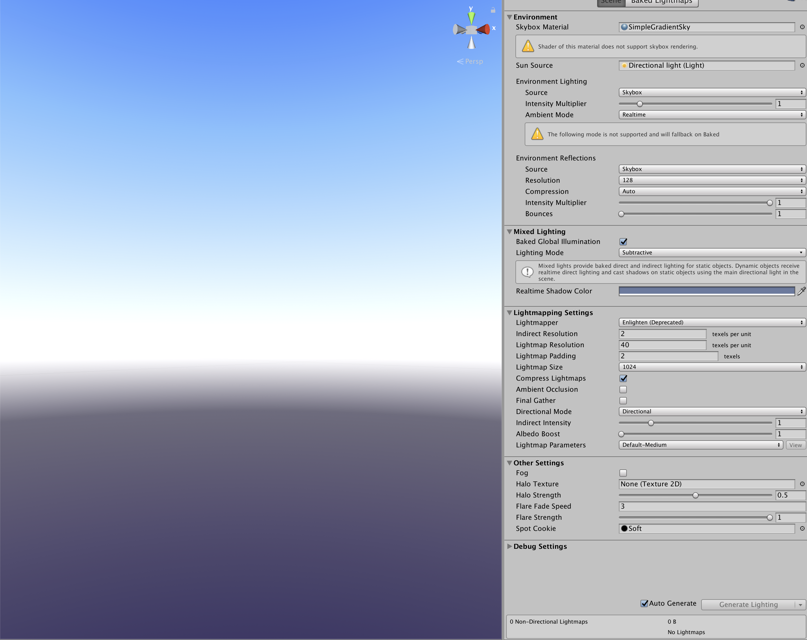 Image displaying the shader graph skybox material added to the scene's lighting settings.