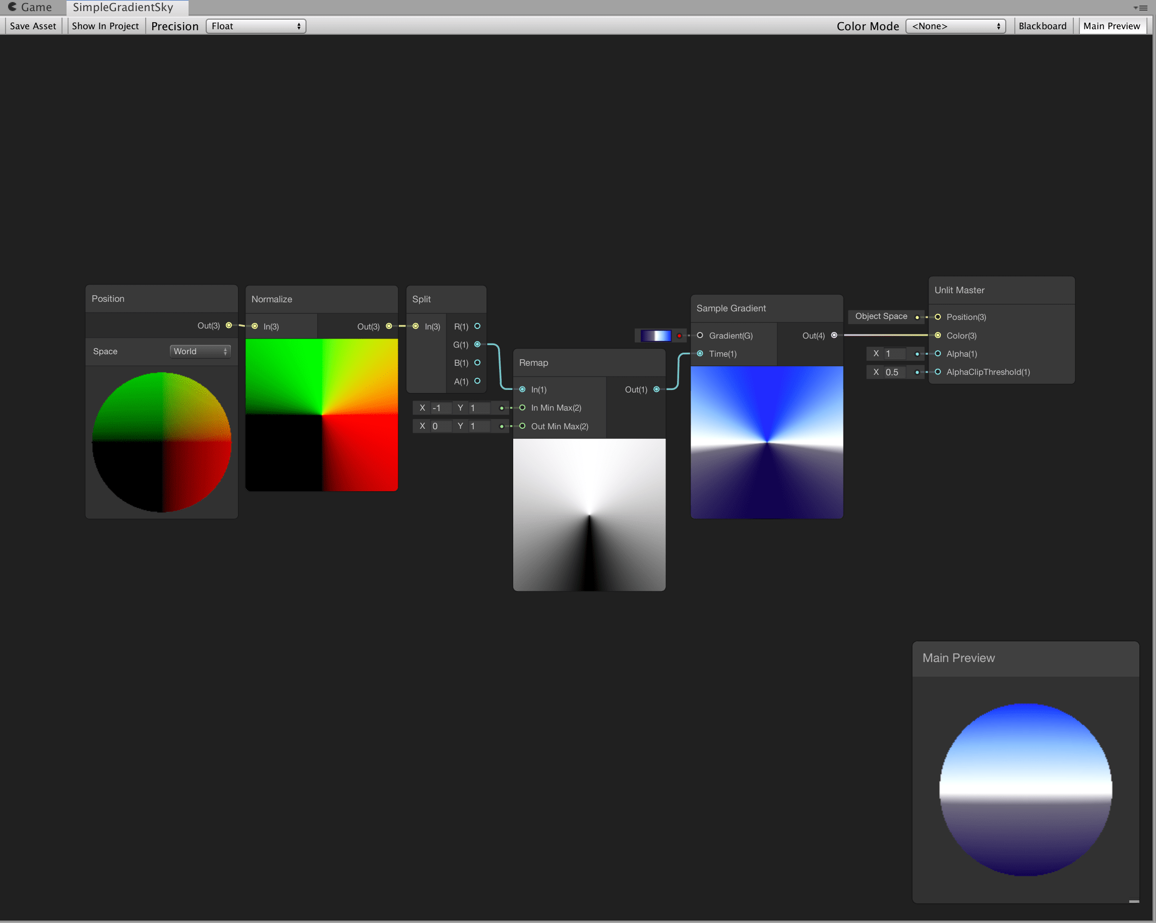Image of a shader graph skybox node setup that creates a gradient in the sky.