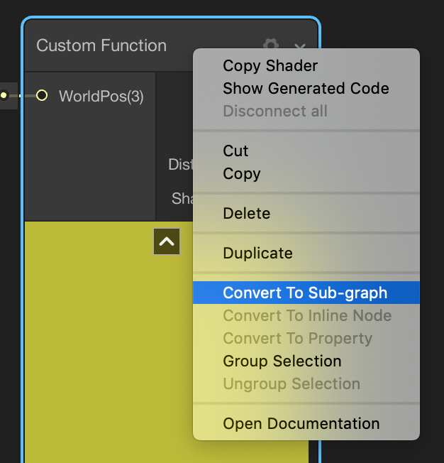 Image displaying the right click menu pointed at the Convert To Sub-graph option of the Custom Function node.