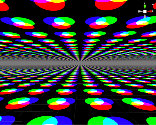 Image displaying the clouds layer for the skybox shader with a debug color circles image used.