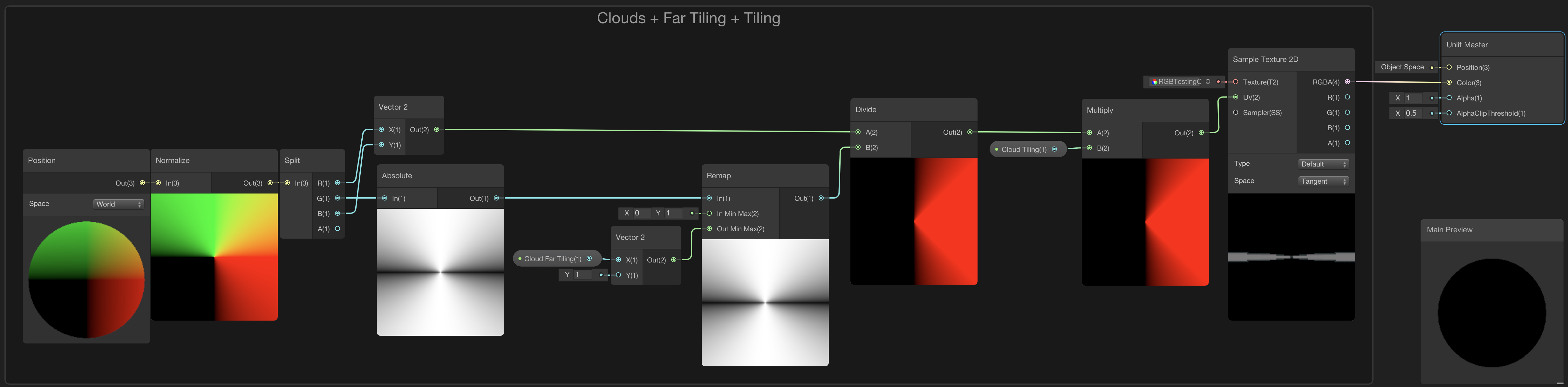 Image displaying the shader graph node setup to add texture tiling to the clouds layer.