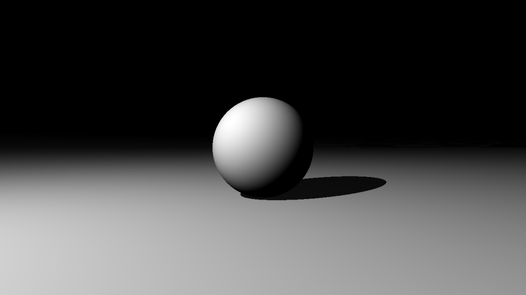 Image of a ray marched scene with a sphere, a plane and lighting and shadows.