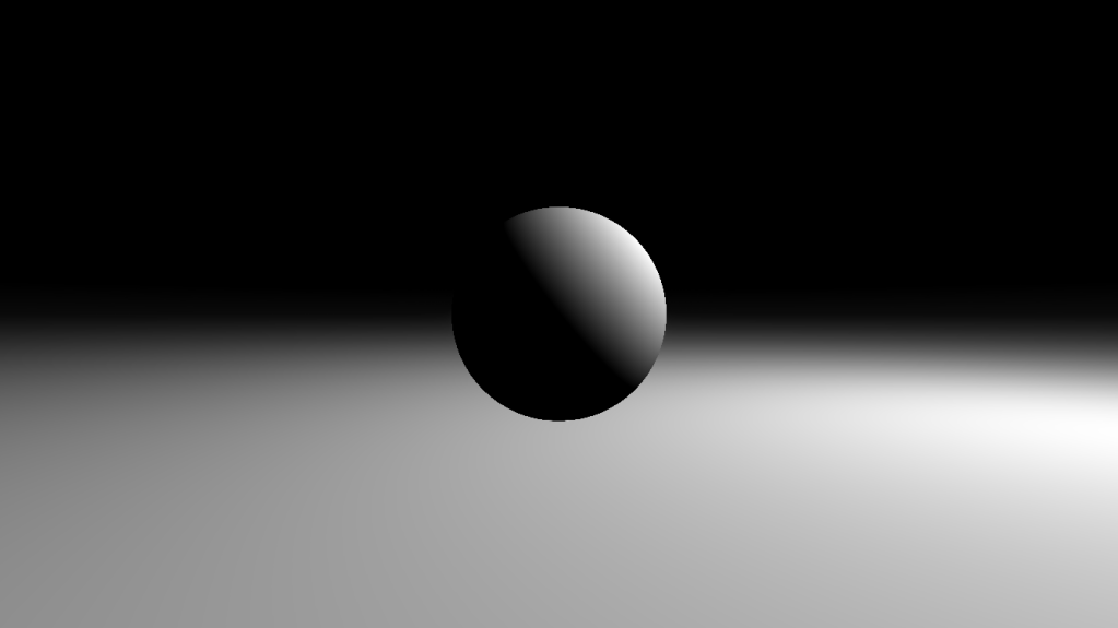 Ray marching shader distance field + normals + diffuse lighting example image.