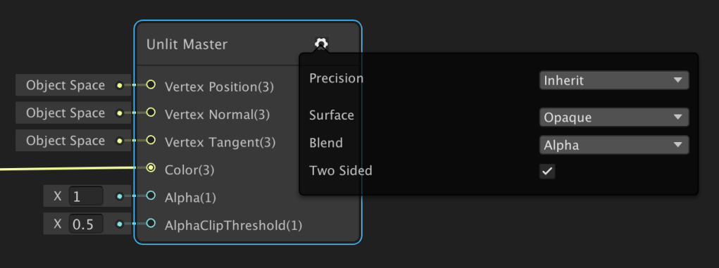 ShaderGraph master node settings for the Universal Render Pipeline (URP).
