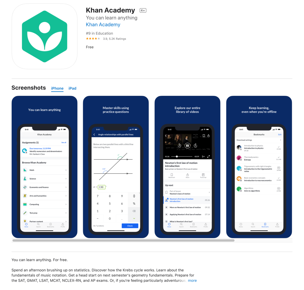 Image showing the Kahn Academy app in the App Store