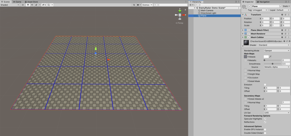 Example image showing the floor plain with a grid texture applied.