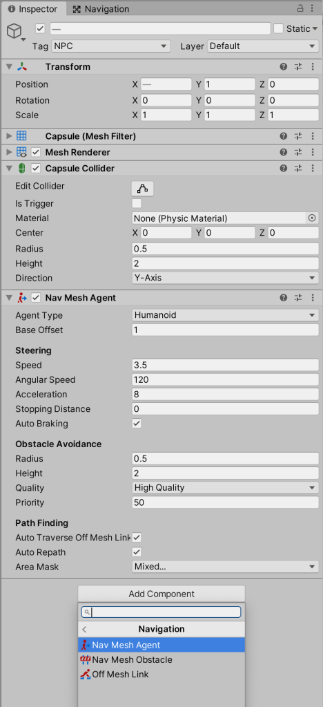 Image showing inspector with the Nav Mesh agent component added to the capsules.
