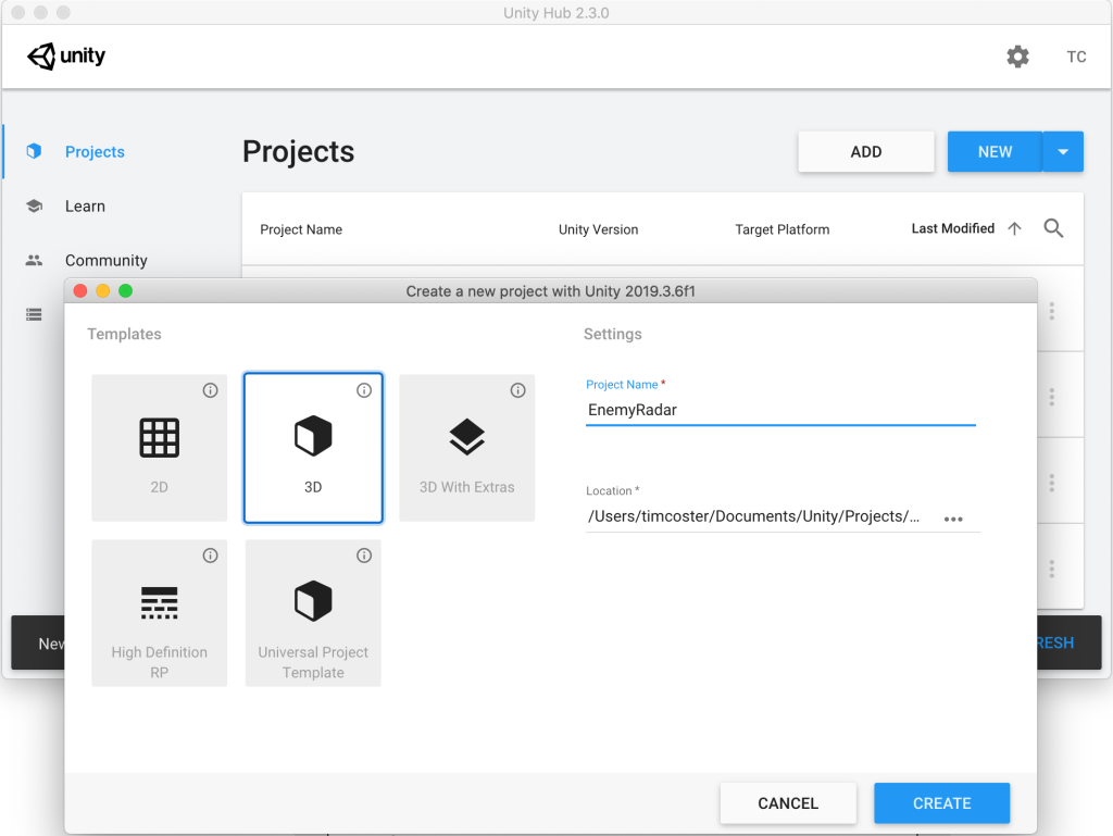 Example image showing the new project creation window of Unity3D.