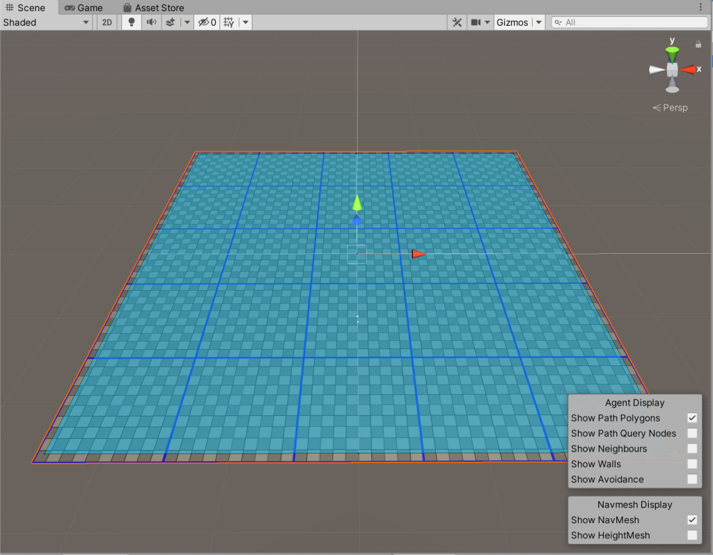 Screenshot showing the floor plane with the baked NavMesh in blue.
