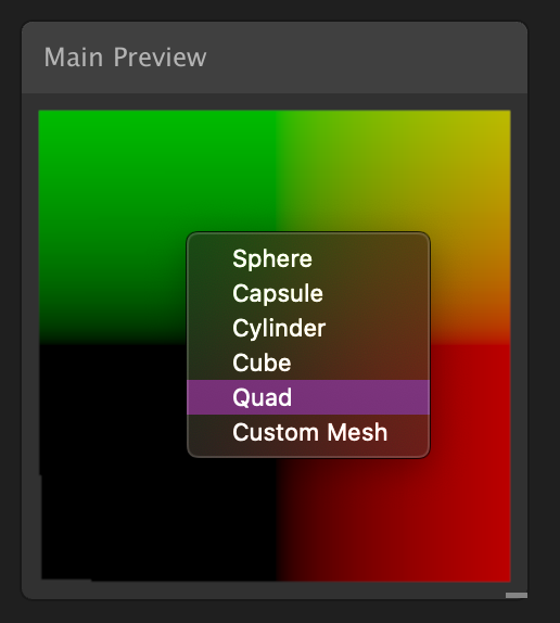 Image showing the Shader Graph main preview window with a quad model in the display.