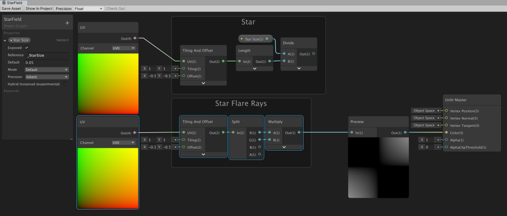 Unity Shader Graph node setup to create a black to white corner gradient.