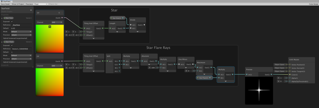 Unity Shader Graph node setup to create a white to black cross shaped gradient for use as a star flare.
