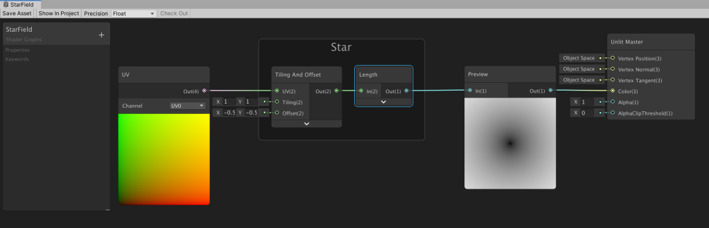Unity Shader Graph nodes setup to create a soft black dot in the center.