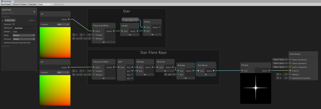 Unity Shader Graph node setup to create a white to black cross shaped gradient.