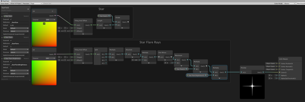 Unity Shader Graph node setup to create a star flare with a brightness property.