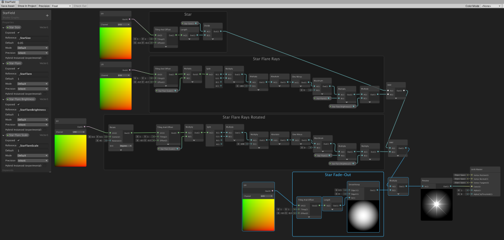 Unity Shader Graph node setup to create a star with flare that fades out towards the edge.